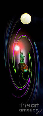 Landmarks Painting Royalty Free Images - Statue of Liberty 5 Royalty-Free Image by Walter Zettl