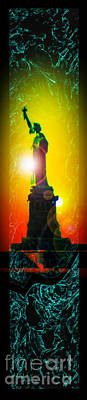 Landmarks Painting Royalty Free Images - Statue of Liberty 7 Royalty-Free Image by Walter Zettl