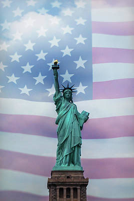 Photograph - Statue Of Liberty American Flag by Terry DeLuco