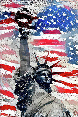American Flag Digital Art - Statue Of Liberty by Amy Cicconi