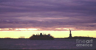 Photograph - Statue Of Liberty And Ferry Dramatic Sunset by Tom Wurl