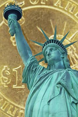 Staff Picks Cortney Herron - Statue of Liberty and one dollar coin by Jaroslav Frank