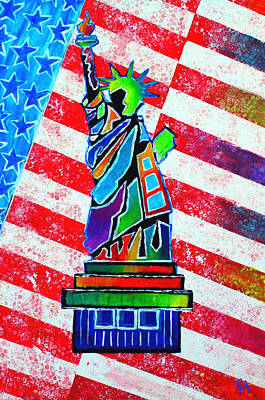 Painting - Statue Of Liberty And Stripes by Jeremy Aiyadurai
