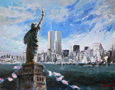 City Scapes Painting - Statue Of Liberty And Tween Towers by Ylli Haruni