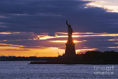 Statue Of Liberty At Sunset Art Print by Jeremy Woodhouse