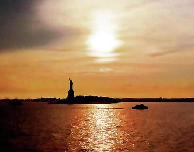 Statue Of Liberty At Sunset Art Print