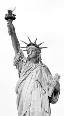 Statue Of Liberty, Black And White Art Print by Sandy Taylor
