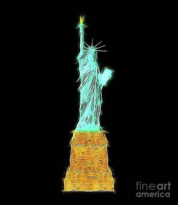 Kingfisher Digital Art - Statue Of Liberty By Raphael Terra by Raphael Terra