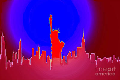 Paris Skyline Royalty-Free and Rights-Managed Images - Statue of Liberty Enlightening the World by Rafael Salazar