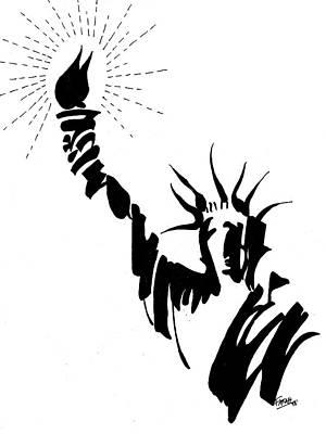 Statue Portrait Drawing - Statue Of Liberty by Farah Faizal