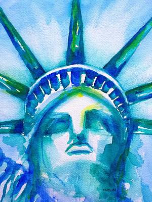 Painting - Statue Of Liberty Head Abstract by CarlinArt Watercolor