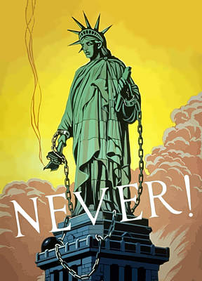 Political Propaganda Digital Art - Statue Of Liberty In Chains -- Never by War Is Hell Store