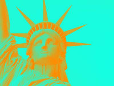 Statue Of Liberty At Night Painting - Statue Of Liberty In Orange 2 by Celestial Images