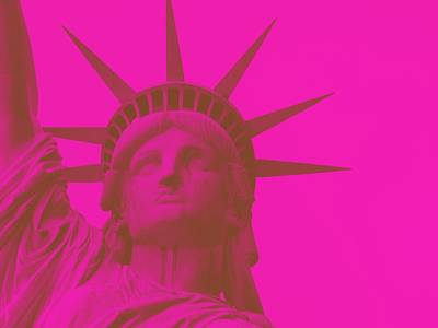 Statue Of Liberty At Night Painting - Statue Of Liberty In Pink 2 by Celestial Images