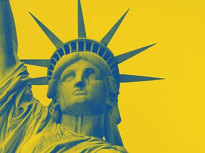 Statue Of Liberty At Night Painting - Statue Of Liberty In Yellow by Celestial Images