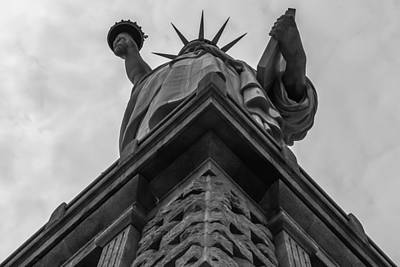 Photograph - Statue Of Liberty Looking Up Black And White by Terry DeLuco