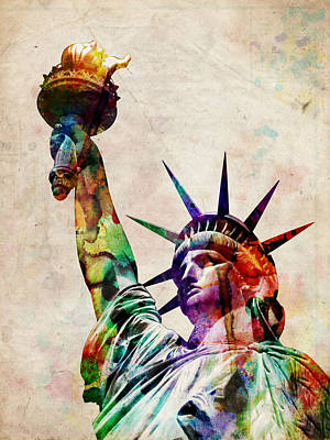 City Wall Art - Digital Art - Statue Of Liberty by Michael Tompsett