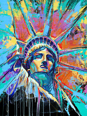 New York Wall Art - Painting - Statue Of Liberty New York Art Usa by Damon Gray