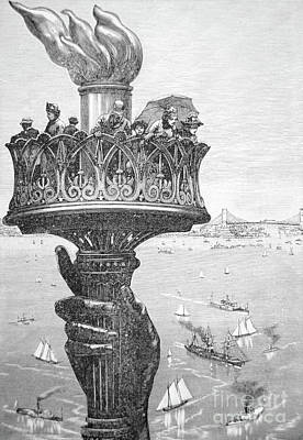 Statue Of Liberty Drawing - Statue Of Liberty, New York Harbor, 1890 by American School