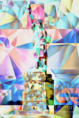 Print featuring the photograph Statue Of Liberty New York In Abstract Cubism 20170327 by Wingsdomain Art and Photography