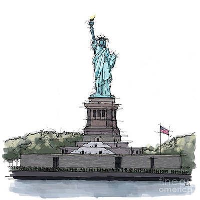 Sculpure Painting - Statue Of Liberty, New York Sketch by Pablo Franchi