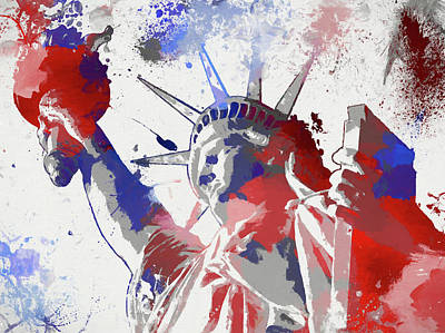 Lady Justice Painting - Statue Of Liberty Paint Splatter by Dan Sproul