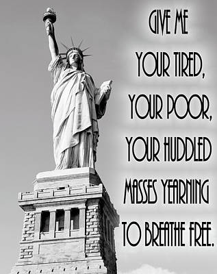 Statue Of Liberty Quote Art Print by Dan Sproul