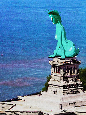 Lady Liberty Painting - Statue Of Liberty Seated Painting by Tony Rubino