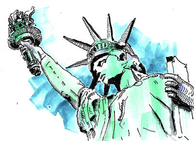 Painting - Statue Of Liberty by Terry Banderas