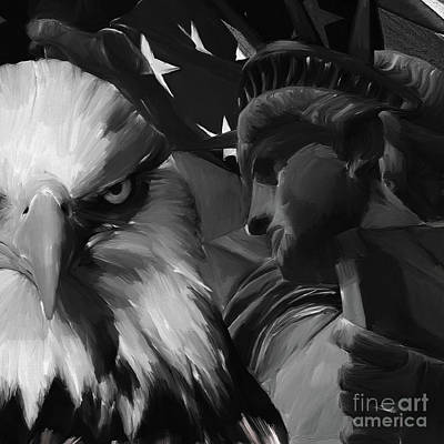 Usa Flag Painting - Statue Of Liberty Usa by Gull G