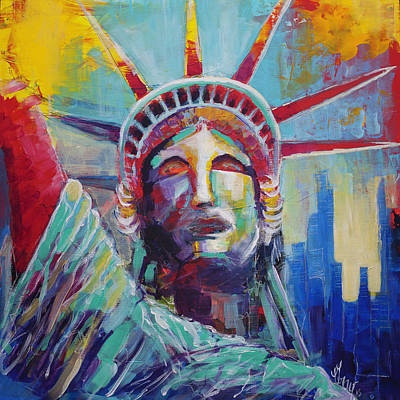 Painting - Statue Of Liberty Usa Wall Art New York City Lady Liberty by Gray Artus