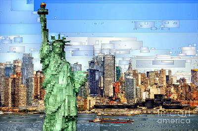 Digital Art - Statue Of Liberty- New York by Rafael Salazar