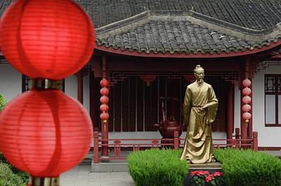 Jia Lu Photograph - Statue Of Lu Yu Teamaster Of China In Courtyard Of Mei Jia Wu Te by Reimar Gaertner
