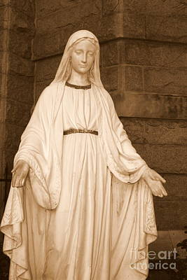 Sepia Photograph - Statue Of Mary At Sacred Heart In Tampa by Carol Groenen
