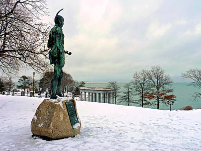 Photograph - Statue Of Massasoit In Winter by Janice Drew