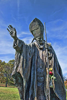 Photograph - Statue Of Pope John Paul II - The Blue Army Shrine Of Our Lady Of Fatima by Allen Beatty