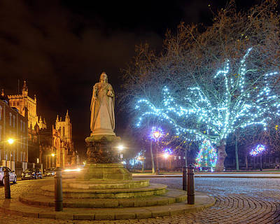 Photograph - Statue Of Queen Victoria With Bristol Cathedral And Christmas Lights In The Background by Jacek Wojnarowski