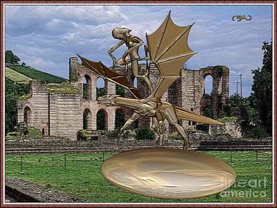 Statue Of Spirit Astride A Dragon Original by Pemaro