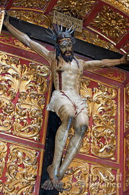 Statue Of The Crucifixion Inside The Catedral De Cordoba Art Print by Sami Sarkis