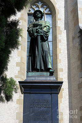 Photograph - Statue Of Ulrich Zwingli In Zurich Switzerland by Louise Heusinkveld