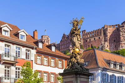 Statue Of Virgin Mary In Heidelberg Art Print by Werner Dieterich
