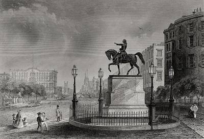 Washington Square Drawing - Statue Of Washington Union Square New by Vintage Design Pics