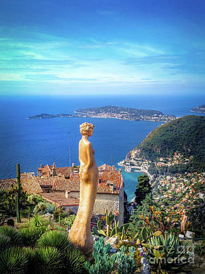Arial View Photograph - Statue On Eze Overlooking Mediterranean Sea by Michael Walsh