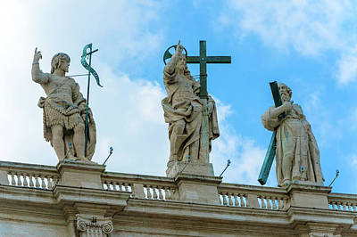 Photograph - Statues Above St. Peter Basilica In Rome. by Marek Poplawski
