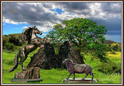 Statues In The Park Art Print by Pemaro