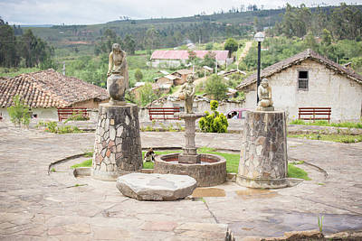 Digital Art - Statues In The Plaza At Huancas by Carol Ailles