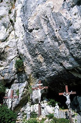 Statues Of Jesus Christ On The Cross At The Christian Pilgrimage Site Of La Sainte-baume Art Print