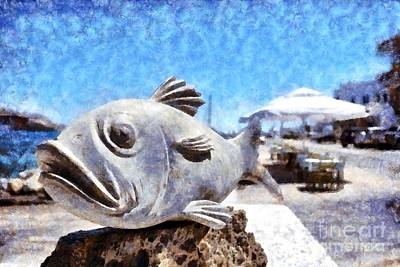 Statue Painting - Statuette Of A Fish  by George Atsametakis