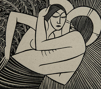 Sexual Lovers Drawing - Stay Me With Apples by Eric Gill