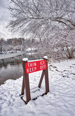 Photograph - Thin Ice Keep Off by Gary Slawsky